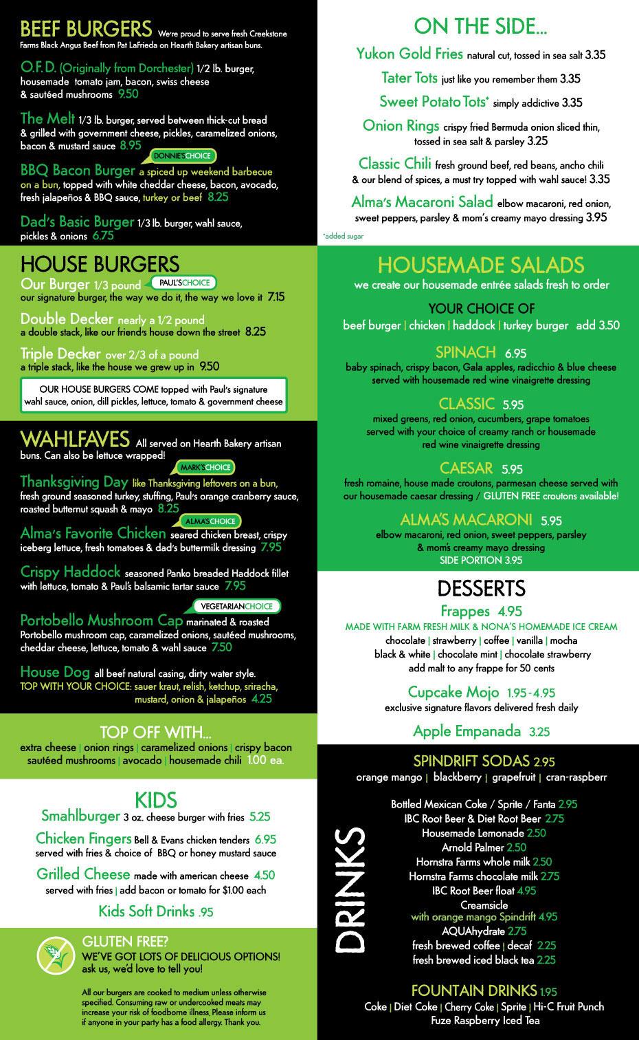 Surf Burgers >> Wahlburgers Rooftop Bar and Food Menu